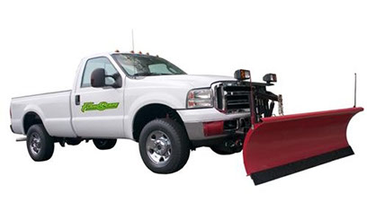 White Flandscape pick up work truck with Red Snow Plow